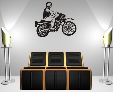 motorrad wandtattoo motorbiker wandaufkleber mo01. Black Bedroom Furniture Sets. Home Design Ideas