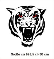 Tigeraufkleber Tigerkopf mit roten Augen Tiger Aufkleber