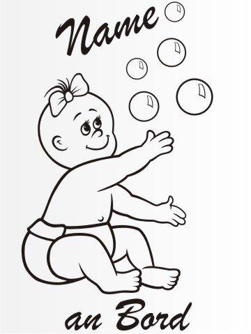 MO6 Personalisierte Babyaufkleber 20 cm Groß ideal als Fahrzeugaufkleber
