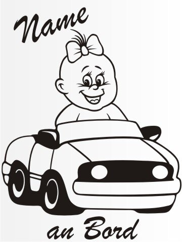 MO46 Personalisierte Babyaufkleber 20 cm Groß ideal als Fahrzeugaufkleber