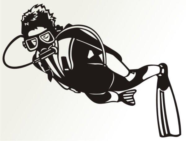 Wandtattoo Sporttaucher, Taucher Wanddeko