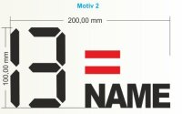 Startnummer mit Namen und Österreich Flagge individuell gestalten