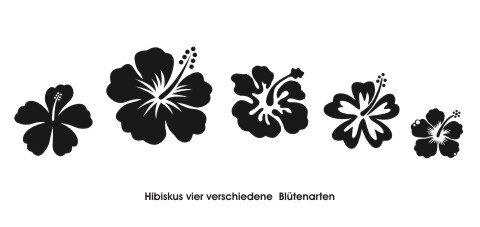 Hibiskus Wandtattoo Tapeten Deko M-1