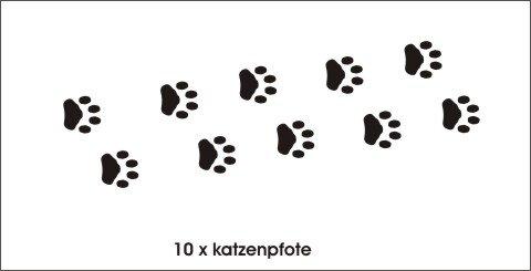 Katzenpfoten Wandtattoo Tapeten Deko, Wanddeko