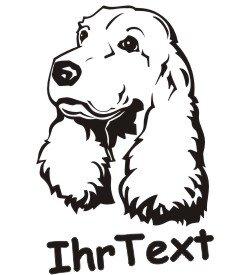 Hundeaufkleber Cocker Spaniel mit dem Namen Ihres Hundes