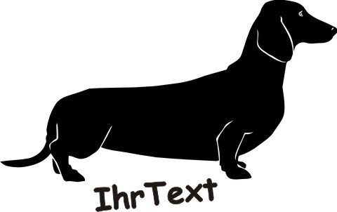 Hundeaufkleber Dackel, Dachshund mit dem Namen Ihres Hundes