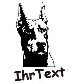 Dobermann DR Hundeaufkleber mit dem Namen Ihres Hundes