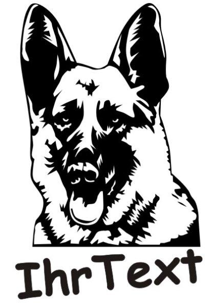 Hundeaufkleber Deutsche Schäferhund 02DR mit dem Namen Ihres Hundes