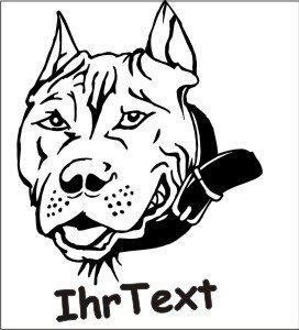 Hundeaufkleber Pitbull 02DH mit dem Namen Ihres Hundes