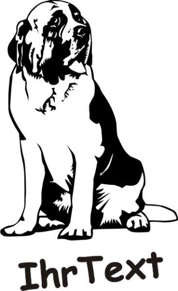 Hundeaufkleber Bernhardiner DR mit dem Namen Ihres Hundes