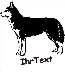 Hundeaufkleber Siberian Husky 01 mit dem Namen Ihres Hundes