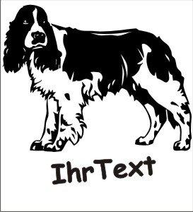 Hundeaufkleber Springer Spaniel mit dem Namen Ihres Hundes