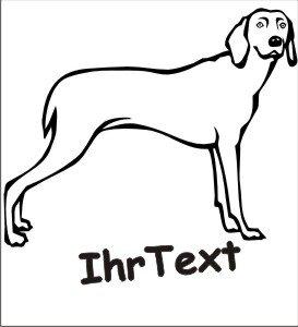 Hundeaufkleber Weimaraner mit dem Namen Ihres Hundes