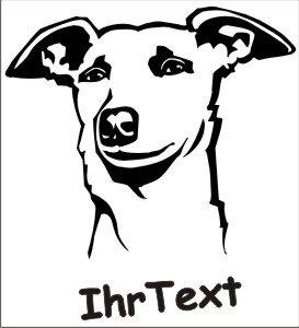 Hundeaufkleber Windhund mit dem Namen Ihres Hundes
