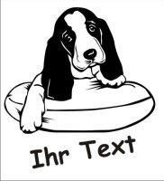 Wandtattoo Basset Hound 01DR mit dem Namen Ihres Hundes