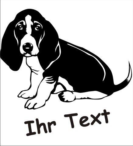 Wandtattoo Basset Hound 02DR mit dem Namen Ihres Hundes