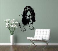 Wandtattoo Bassett Hound 01 mit dem Namen Ihres Hundes