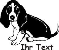 Hundeaufkleber Basset Hound 02DR mit dem Namen Ihres Hundes