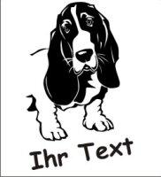 Hundeaufkleber Bassett Hound 01 mit dem Namen Ihres Hundes