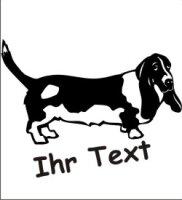 Wandtattoo Bassett Hound 02 mit dem Namen Ihres Hundes