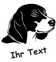 Wandtattoo Beagle 01 mit dem Namen Ihres Hundes