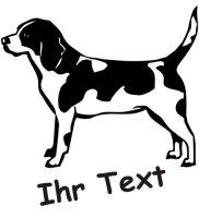 Wandtattoo Beagle 02 mit dem Namen Ihres Hundes