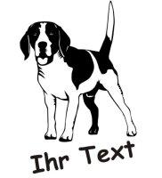 Wandtattoo Beagle DR mit dem Namen Ihres Hundes