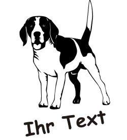 Hundeaufkleber Beagle DR mit dem Namen Ihres Hundes
