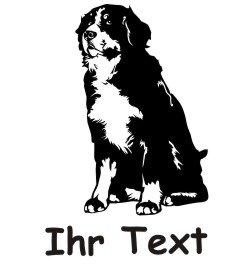 Hundeaufkleber Berner Sennenhund 01DR mit dem Namen Ihres Hundes