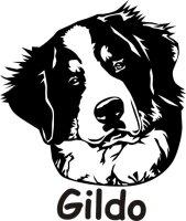 Wandtattoo Berner Sennenhund 02DR mit dem Namen Ihres Hundes