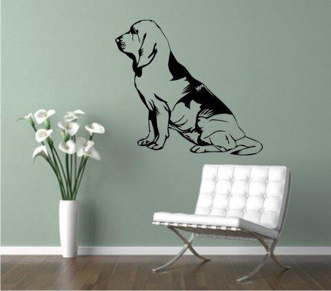 wandtattoo bloodhound 03dr mit dem namen ihres hundes. Black Bedroom Furniture Sets. Home Design Ideas