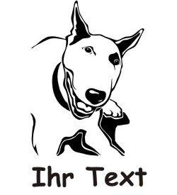 Wandtattoo Bull Terrier mit dem Namen Ihres Hundes 02