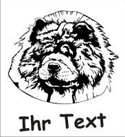 Wandtattoo Chow-Chow Head DR mit dem Namen Ihres Hundes