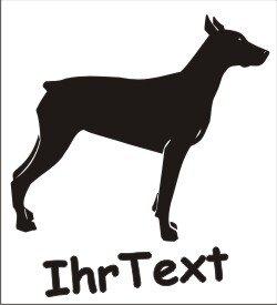 Wandtattoo Dobermann mit dem Namen Ihres Hundes