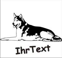 Wandtattoo Husky 01DR mit dem Namen Ihres Hundes
