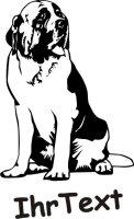 Wandtattoo Bernhardiner DR mit dem Namen Ihres Hundes