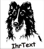 Sheltie Wandtattoo Shetland Schäferhund 01 mit dem Namen Ihres Hundes