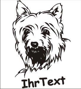 Wandtattoo Yorkshire Terrier mit dem Namen Ihres Hundes