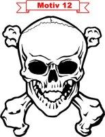 Totenkopf Skull Aufkleber, Totenkopfaufkleber M-12