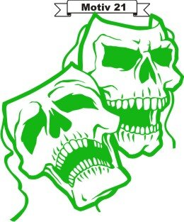 Totenkopf Skull Aufkleber, Totenkopfaufkleber M-21
