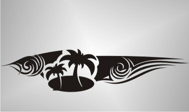 MO36 Hawaii Beach Sticker, Blumen Hibiskus Aufkleber