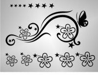M003 Aufkleber Floral, Blumenaufkleber Sterne Aufkleber...