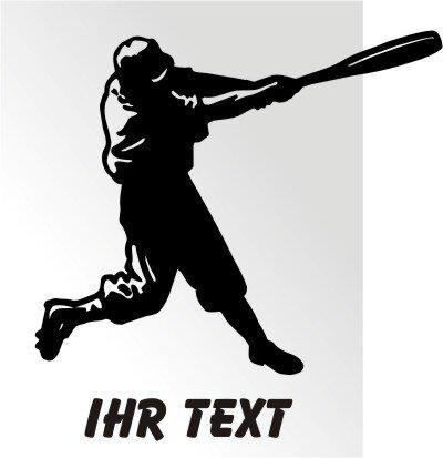 Baseball Batter Aufkleber Autoaufkleber mit Text 02MG