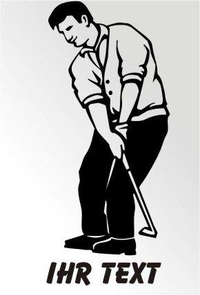 Golfer Aufkleber Golf Sport Sticker Golfspieler mit Text MO06