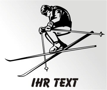 Skifahrer Aufkleber Ski Autoaufkleber mit Text. MO09
