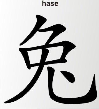 Aufkleber China Zeichen Hase Chinazeichen Sticker