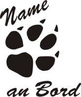 Hundeaufkleber, Hundepfoten Aufkleber mit dem Namen Ihres...