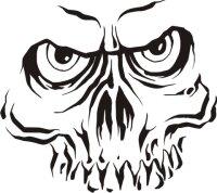 Totenkopf Wandtattoo, Skull Walltattoo MO07