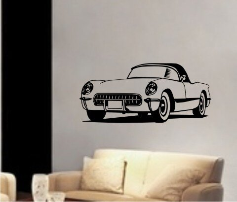 Corvette Wandtattoo, Walltattoo Klassische Corvette DR