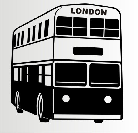 Doppeldeckerbus London Wandtattoo, Walltattoo Double Decker Bus